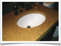 Sink inside concrete countertop