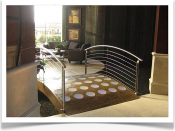 custom indoor bridge with handrails